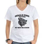 gerald ford eaten by wolves Women's V-Neck T-Shirt