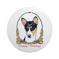 Basenji Breed Happy Holidays Ornament (Round)