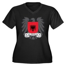 Albania Shield Women's Plus Size V-Neck Dark T-Shi