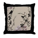 Birds & Cherry Blossoms Throw Pillow
