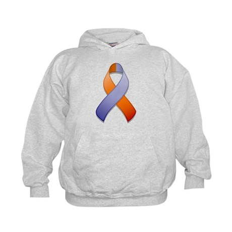 Orchid and Orange Awareness Ribbon Kids Hoodie
