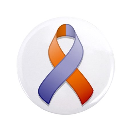 "Orchid and Orange Awareness Ribbon 3.5"" Button"