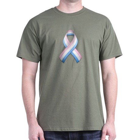 Pink White & Blue Ribbon Dark T-Shirt