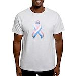 Pink White & Blue Ribbon Light T-Shirt