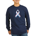 Pink White & Blue Ribbon Long Sleeve Dark T-Shirt