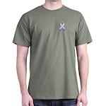 Pink White & Blue Ribbon Dark T-Shirt