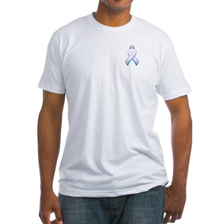 Pink White & Blue Ribbon Fitted T-Shirt