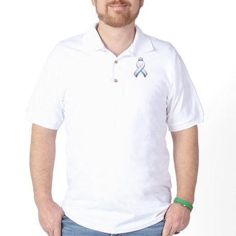 Pink White & Blue Ribbon Golf Shirt