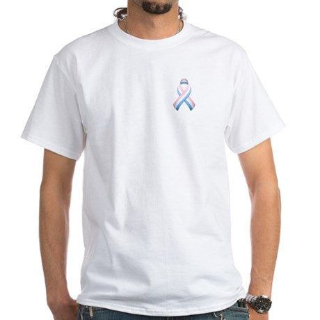 Pink White & Blue Ribbon White T-Shirt