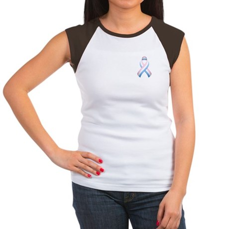 Pink White & Blue Ribbon Women's Cap Sleeve T-Shir