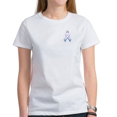 Pink White & Blue Ribbon Women's T-Shirt