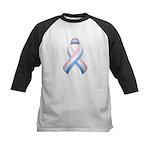 Pink White & Blue Ribbon Kids Baseball Jersey