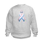 Pink White & Blue Ribbon Kids Sweatshirt