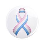 """Pink White & Blue Ribbon 3.5"""" Button"""