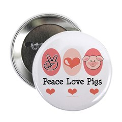 "Peace Love Pigs 2.25"" Button"