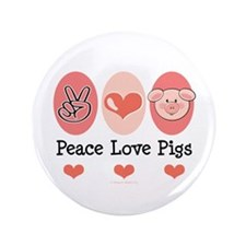 "Peace Love Pigs 3.5"" Button (100 pack)"