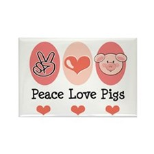 Peace Love Pigs Rectangle Magnet