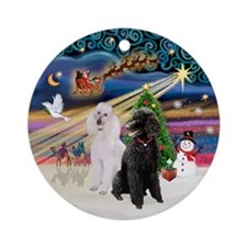 Xmas Magic - 2 Poodles (ST-B+W) Ornament (Round)