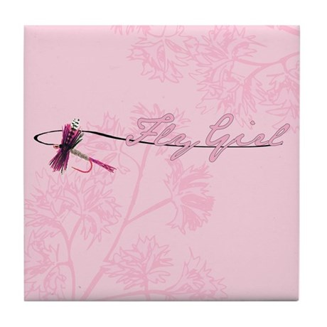 Fly Fishing Girl Tile Coaster
