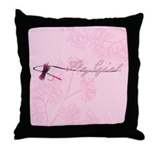 Fly Fishing Girl Throw Pillow