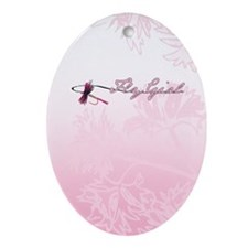 Fly Fishing Girl Oval Ornament