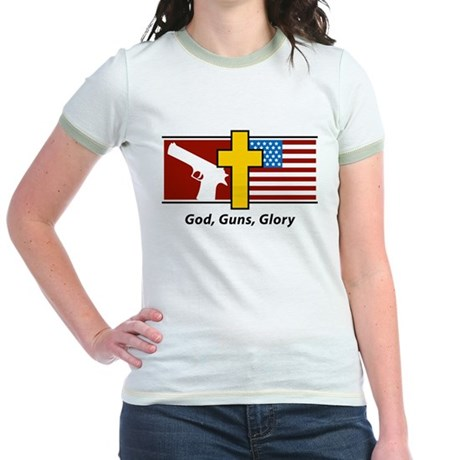 God Guns Glory Jr. Ringer T-Shirt