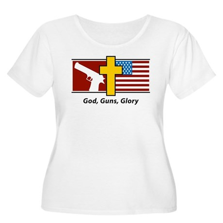 God Guns Glory Women's Plus Size Scoop Neck T-Shir