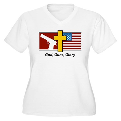 God Guns Glory Women's Plus Size V-Neck T-Shirt