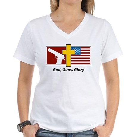 God Guns Glory Women's V-Neck T-Shirt