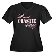 Proud Coastie Wife Women's Plus Size V-Neck Dark T