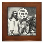 Jesus Wine Framed Tile