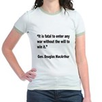 MacArthur Will to Win Quote Jr. Ringer T-Shirt
