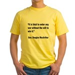 MacArthur Will to Win Quote Yellow T-Shirt