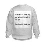 MacArthur Will to Win Quote Kids Sweatshirt