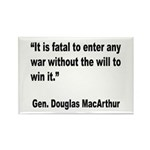 MacArthur Will to Win Quote Rectangle Magnet (10 p