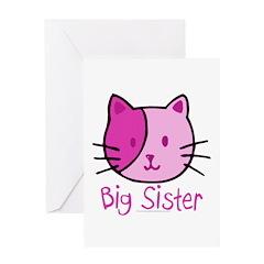 Cat Pink Big Sister Greeting Card