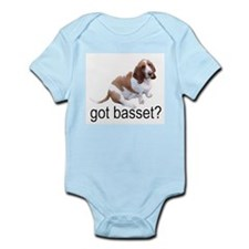 got basset? Red & White Infant Creeper