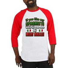 Funny Spaghetti and Meatballs Baseball Jersey