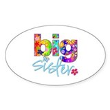 big sister t-shirt flower Oval Stickers
