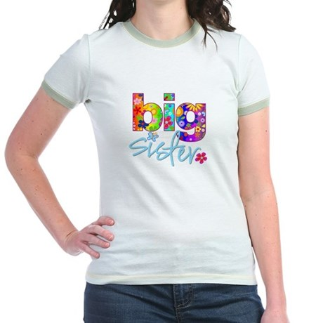 ADULT SIZES big sister bright flower Jr. Ringer T-