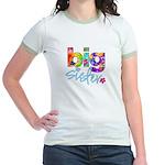 ADULT SIZES big sister bright flower Jr. Ringer T-