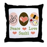 Peace Love Sushi Throw Pillow