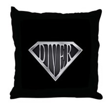 SuperDiver(metal) Throw Pillow