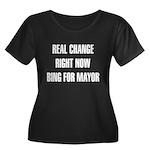 Bing Women's Plus Size Scoop Neck Dark T-Shirt