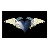 Blue Heart on White Wings Rectangle Sticker 50 pk