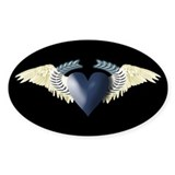 Blue Heart on White Wings Oval Sticker (50 pk)