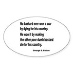 Patton on Winning a War Oval Sticker (10 pk)