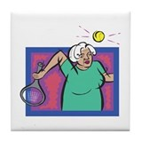 Seniors Tennis Player Tile Coaster