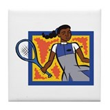 Girl Tennis Player Tile Coaster