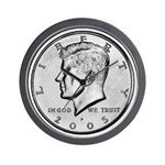 John F. Kennedy Half Dollar Wall Clock